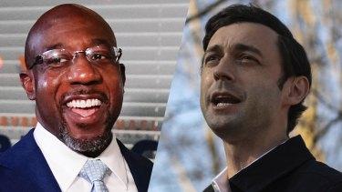 New senators: the Democrat victors in the Georgia run-offs, Raphael Warnock (left) and Jon Ossoff.