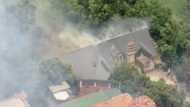 A fire burning at Northmead on Sunday.