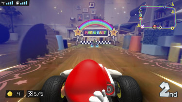 See your home from a different point of view as Mario zooms under your couch and between improvised barriers.
