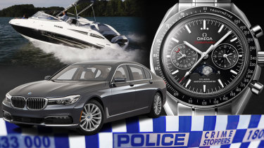 Assets seized by Victorian police under restraining orders.