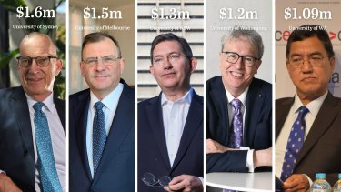 Vice-chancellors in Australia are highly-paid, among them are: University of Sydney's (Michael Spence) at left; University of Melbourne's (Duncan Maskell); University of NSW's (Ian Jacobs); University of Wollongong's (Paul Wellings) and University of Western Australia's (Amit Chakma).