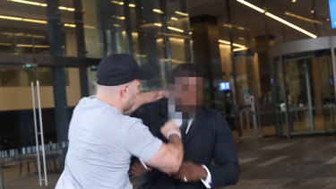 A man attacks a Channel Nine security guard on March 1. Police allege the attacker was Thomas Sewell.