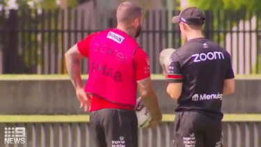 Adam Reynolds in a rehab bib at training on Monday. The pink bib signifies to teammates that he is a non-contact participant in training.