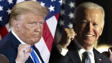 Clear as mud ... US President Donald Trump and Democratic nominee Joe Biden on election night.