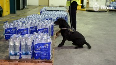 Police have seized almost 160 litres of liquid meth suspended inside water bottles shipped from Iran.
