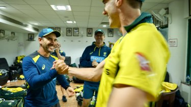 Australia coach Justin Langer (left) in a scene from The Test.