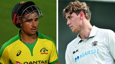 Cameron Green (right) is likely to have to wait to make his international debut with Marcus Stoinis preferred.