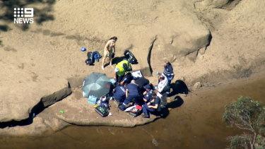 NSW Ambulance paramedics at the scene of the tragedy on Sunday.