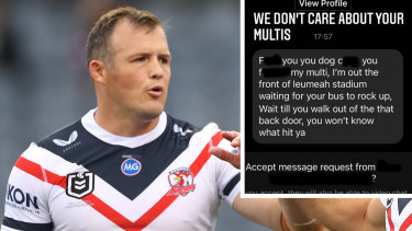 Josh Morris was targeted by a disgruntled punter on social media after the Roosters' win on Sunday.