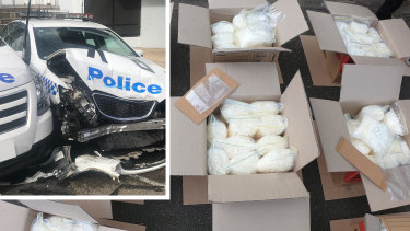 Drugs were located in the van after it crashed into two parked police cars.