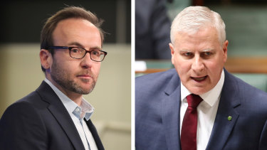 Adam Bandt has been accused of treachery by Michael McCormack after he suggested to South Korean MPs they punish Australian fossil fuel exports.