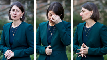 NSW Premier Gladys Berejiklian fronts the media on October 12 after her ICAC inquiry revelations about a personal relationship with Daryl Maguire.