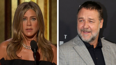 Jennifer Aniston spoke at the Golden Globes on behalf of Russell Crowe.