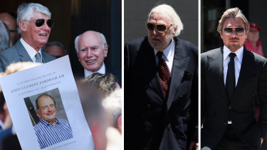 Famous faces at John Fordham's funeral.