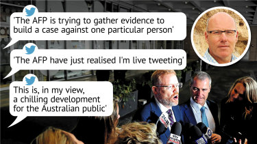 John Lyons live tweeted as AFP and ABC lawyers combed through documents to determine which documents were eligible to be handed over under the search warrant.