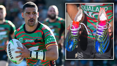 South Sydney Rabbitohs five-eighth Cody Walker and his custom made boots for Indigenous Round featuring the silhouette of his sons.
