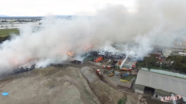 SKM's Coolaroo recycling centre on fire in 2017.