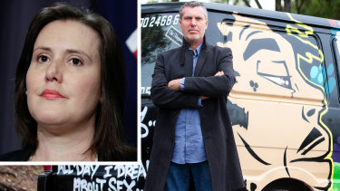 Federal Minister for Women, Kelly O'Dwyer, is taking on offensive language on the side of camper vans owned by John Webb, the founder of Wicked Campers.