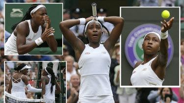 Star is born: Cori Gauff during her first-round defeat of Venus Williams at Wimbledon.