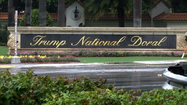 The entrance to the Trump National Doral resort in Florida.