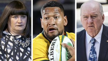 Raelene Castle, Israel Folau and Alan Jones.