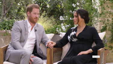 Prince Harry and the Duchess of Sussex speaking to Oprah Winfrey.