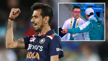 Concussion substitute Yuzvendra Chahal was man of the match with three wickets; (inset) Australian coach Justin Langer remonstrates with match referee David Boon.