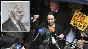 A courtroom sketch of Julian Assange (inset) and his fiancee Stella Moris-Smith Robertson outside court in London on Monday. The court's decision is both a victory in Assange's fight against extradition and a defeat for press freedom.
