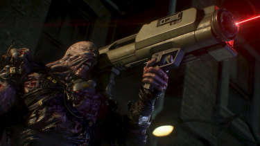Unlike the sinister Tyrant of RE2, Nemesis will come at you with conventional weapons like a rocket launcher.