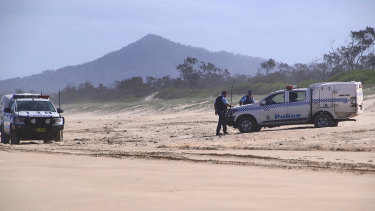 Police in Coffs Harbour established a crime scene on the beach after the leg was found.