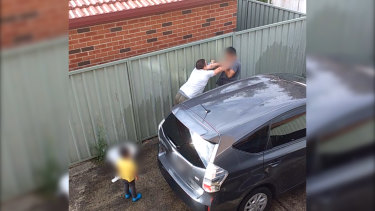 Former Australian Defence League leader Ralph Cerminara was filmed attacking his neighbour in front of the man's two-year-old child.
