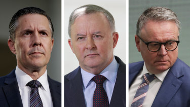 Labor's Mark Butler, Anthony Albanese and Joel Fitzgibbon.