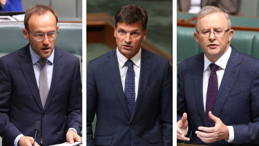 Greens leader Adam Bandt, Energy Minister Angus Taylor and Labor leader Anthony Albanese.