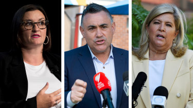 John Barilaro (centre) and two of his ministers, Sarah Mitchell and Bronnie Taylor, are prepared to quit cabinet over the koala planning issue.
