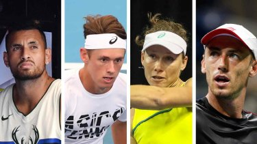 From left: Nick Kyrgios, Alex de Minaur, Sam Stosur and John Millman have pledged to help with the bushfire crisis.