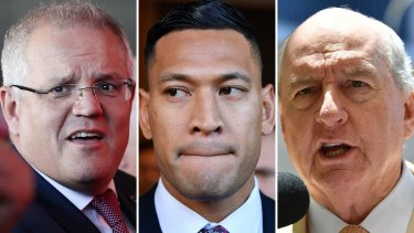Scott Morrison, Israel Folau, Alan Jones.