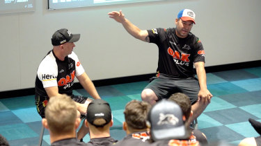Craig Gower speaks to Penrith players during the pre-season about the sacrifices they would need to make to win a premiership.