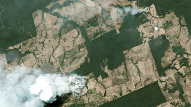 This satellite image, taken on August 21, shows smoke billowing from fires in  Brazil.