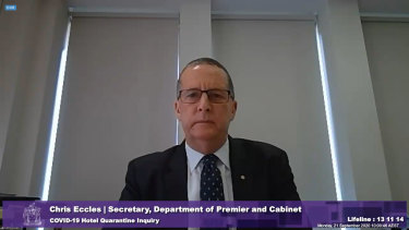Chris Eccles, secretary of the Department of Premier and Cabinet, giving evidence at the inquiry on Monday.
