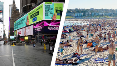 New York's Times Square on Thursday, left, and Bondi Beach on Friday afternoon.