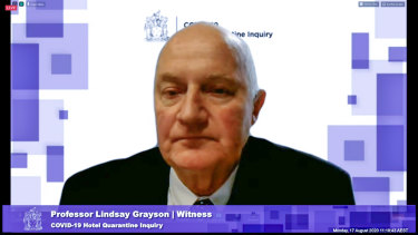 Professor Lindsay Grayson gives evidence at the inquiry into Victoria's hotel quarantine program via video link on Monday.