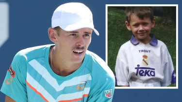 Alex de Minaur at the US Open and as a young boy in Sydney.