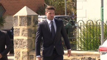 Jesse Hogan arriving at Fremantle Magistrates Court.