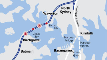 The proposed route of the Western Harbour Tunnel.