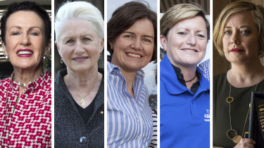 From left: Clover Moore, Kerryn Phelps, Louise Clegg, Christine Forster and Linda Scott.