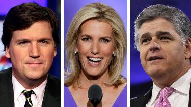 Fox News hosts Tucker Carlson, Laura Ingraham and Sean Hannity.