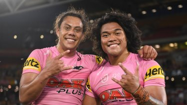 To'o and Jarome Luai, who are both part of the FTA crew, celebrate Saturday's win against Melbourne.