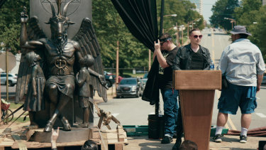 Satanists argued for the erection of a statue of Baphomet.