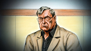 An artist's sketch of George Pell at the County Court on Wednesday.