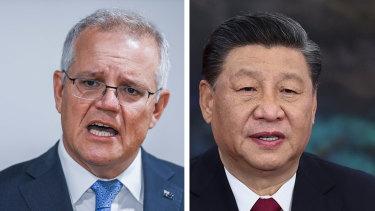 Australia's Prime Minister Scott Morrison and China's President Xi Jinping.